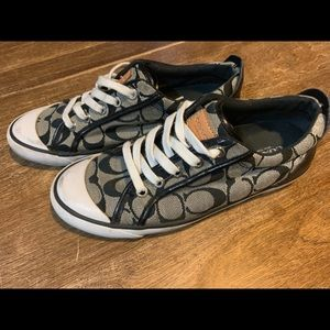 Black coach tennis shoes, classic c, need cleaning